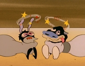 Screenshots from the 1992 Spumco cartoon Mad Dog Höek