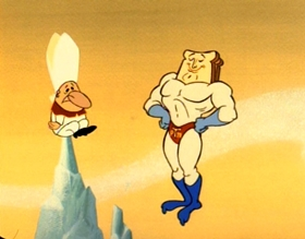 Screenshots from the 1992 Spumco cartoon Powdered Toast Man