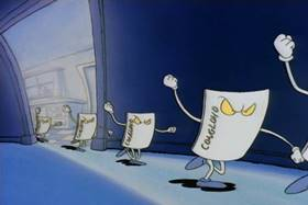 Screenshots from the 1993 Games Animation cartoon Who Gives a Buck