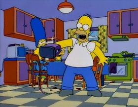 Screenshots from the 1994 Gracie Films cartoon Treehouse of Horror V
