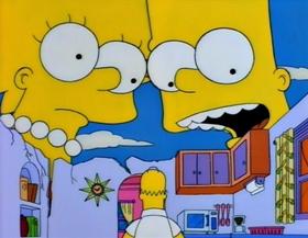 Screenshots from the 1994 Gracie Films cartoon Treehouse of Horror V