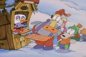 Screenshots from the 1995 Games Animation cartoon Snowballs