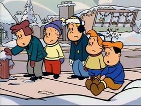 Screenshots from the 1995 CINAR cartoon Snowball War