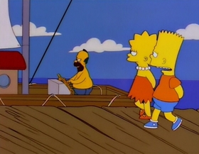 Screenshots from the 1996 Gracie Films cartoon Bart the Fink