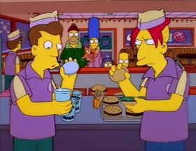 Screenshots from the 1997 Gracie Films cartoon Miracle on Evergreen Terrace