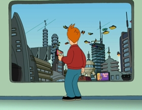 Screenshots from the 1999 Curiosity Company cartoon Space Pilot 3000