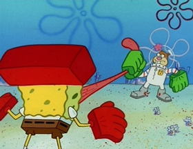 Screenshots from the 1999 United Plankton Pictures cartoon Karate Choppers