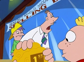 Screenshots from the 1999 Warner Brothers Television cartoon The Man with the Golden Brain