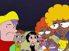 Screenshots from the 1999 Warner Brothers Television cartoon What Did You Séance?