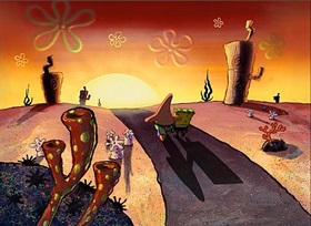 Screenshots from the 2000 United Plankton Pictures cartoon Big Pink Loser