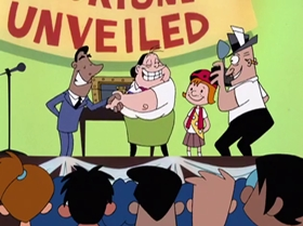 Screenshots from the 2000 Warner Brothers Television cartoon A Friend in Greed