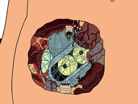 Screenshots from the 2001 Curiosity Company cartoon Parasites Lost