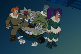 Screenshots from the 2001 Curiosity Company cartoon A Tale of Two Santas