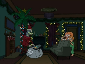 Screenshots from the 2001 Curiosity Company cartoon A Tale of Two Santas