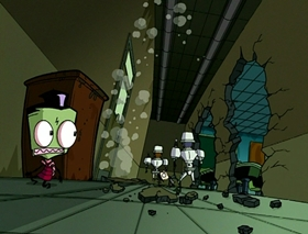 Screenshots from the 2001 Nickelodeon cartoon Halloween Spectacular of Spooky Doom