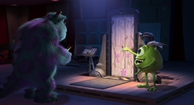 Screenshots from the 2001 Pixar cartoon Monsters, Inc.