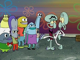 Screenshots from the 2002 United Plankton Pictures cartoon Squilliam Returns