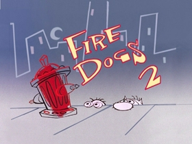 Screenshots from the 2003 Spumco cartoon Fire Dogs 2 (Part 2)