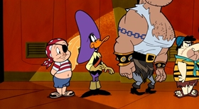 Screenshots from the 2003 Warner Brothers Television cartoon Shiver Me Dodgers