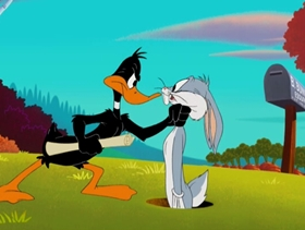 Screenshots from the 2004 Warner Brothers cartoon Daffy Duck for President