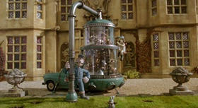 Screenshots from the 2005 Aardman cartoon The Curse of the Were-Rabbit