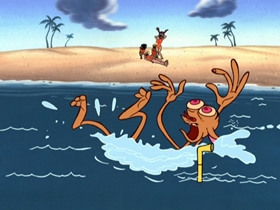 Screenshots from the 2006 Spumco cartoon Naked Beach Frenzy