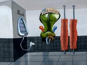 Screenshots from the 2006 Spumco cartoon Naked Beach Frenzy