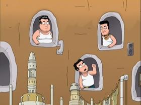 Screenshots from the 2007 Fuzzy Door Productions cartoon Blue Harvest