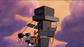 Screenshots from the 2007 Disney cartoon How To Hook Up Your Home Theater