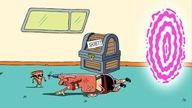 Screenshots from the 2014 Cartoon Network Studios cartoon Future Pizza