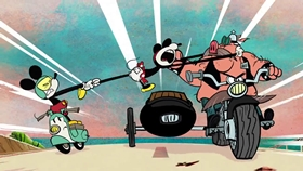 Screenshots from the 2015 Disney Television Animation cartoon Road Hogs