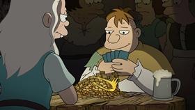 Screenshots from the 2018 Rough Draft Studios cartoon A Princess, an Elf and a Demon Walk Into a Bar