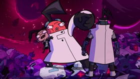 Screenshots from the 2019 Nickelodeon cartoon Invader Zim: Enter the Florpus