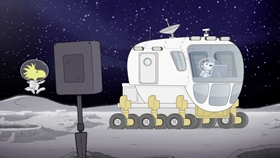 Screenshots from the 2019 DHX Media Ltd. cartoon Mission 9: Searching for Moon Rocks