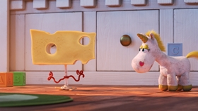 Screenshots from the 2020 Pixar cartoon What is Cheese?