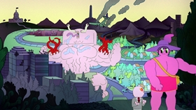 Screenshots from the 2020 Titmouse Inc. cartoon Taste of the King