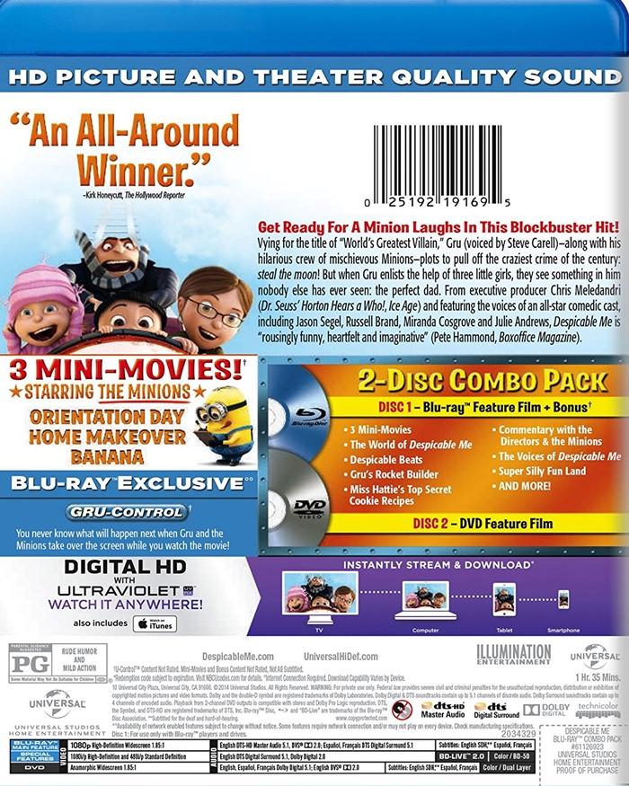 Despicable Me + 3 Mini-Movies (Blu-Ray + DVD + Digital