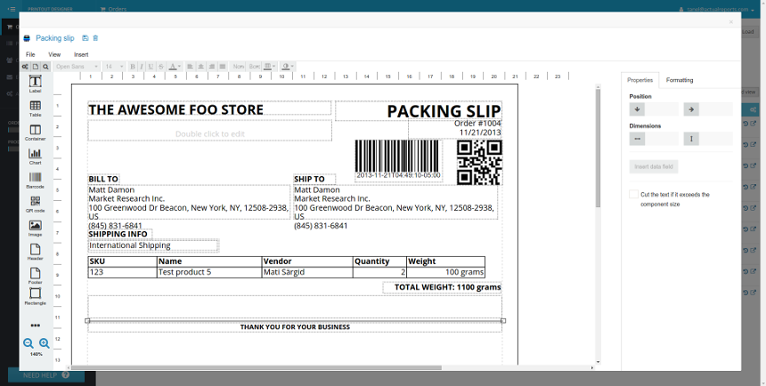Printout Designer Invoices Packing Slips and Labels – Packing Slips for Shipping
