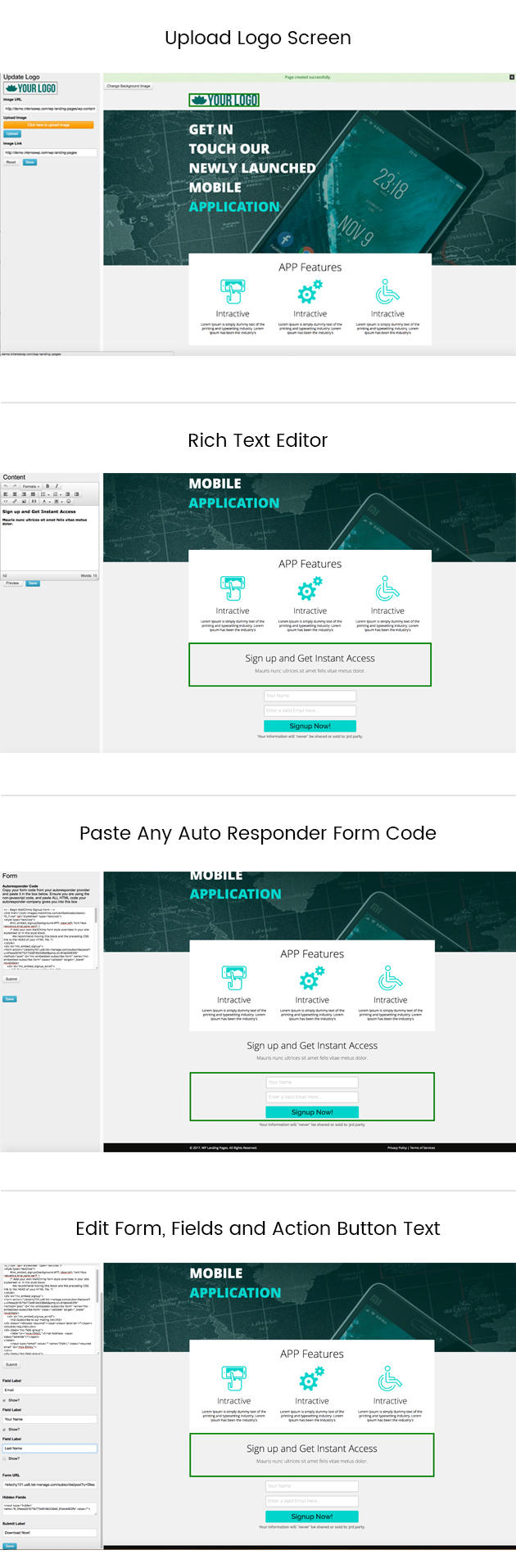 WP Landing Pages Pro - Admin Screens