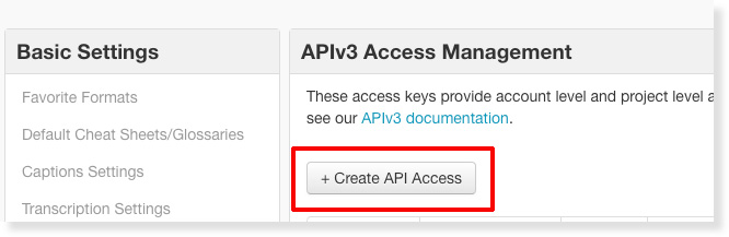 Click to Create API Access