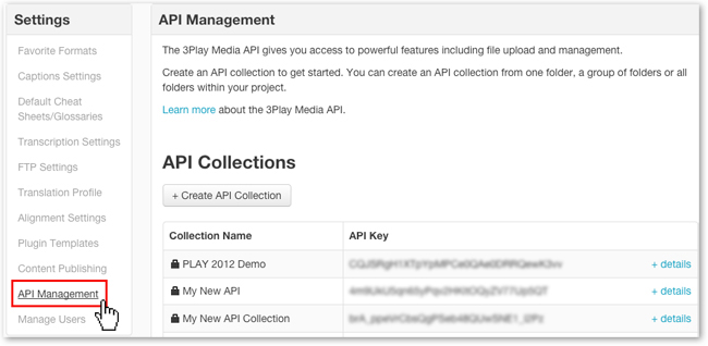 API management for Cattura 3Play Media closed captioning integration