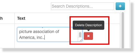 The editing interface is highlighted around a red X icon with a tool tip that reads Delete Description