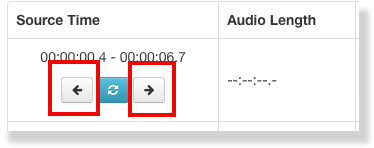 The editing interface is highlighted around two arrows that allow users to nudge the timecode by 0.1 seconds at a time