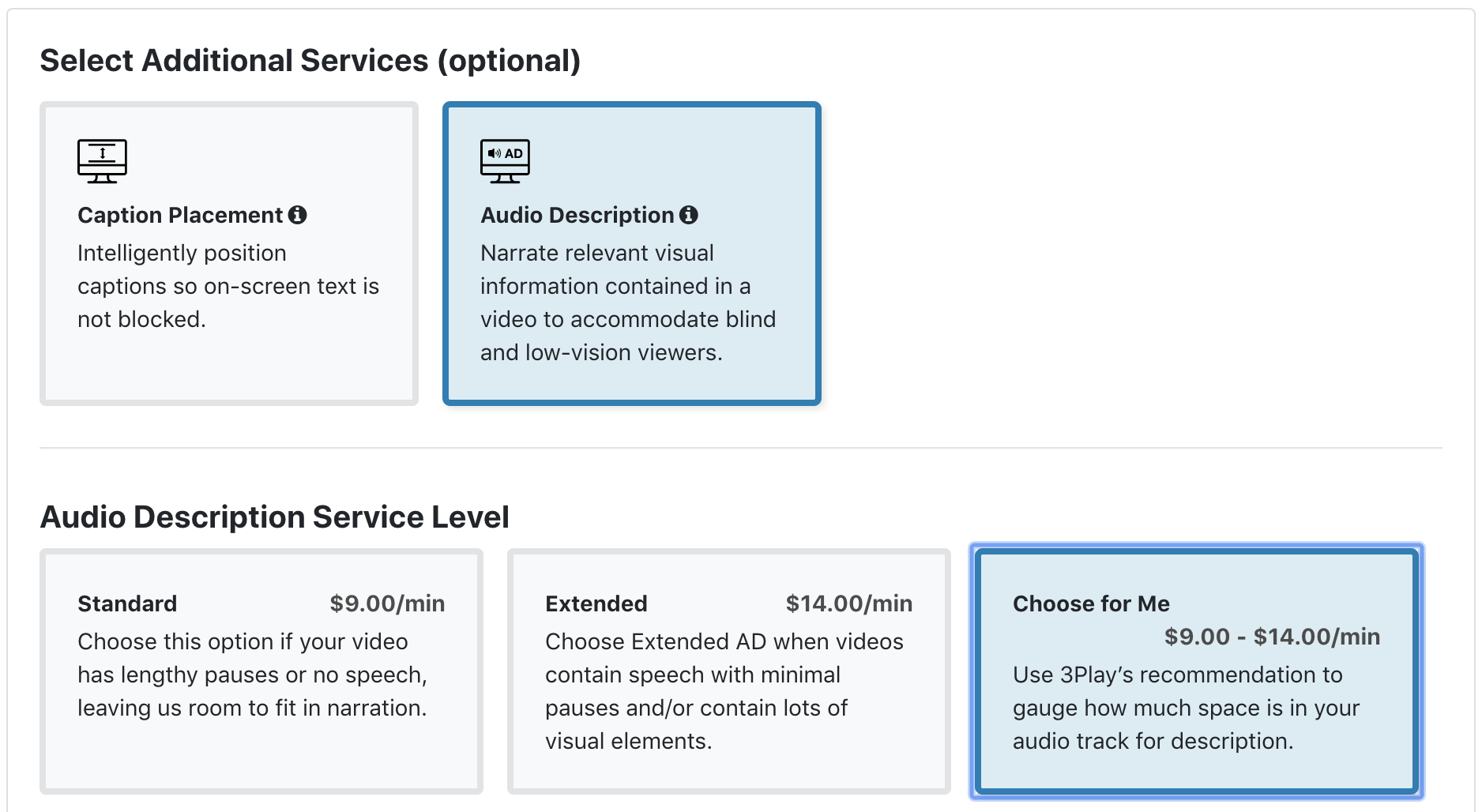 Dropdown of audio description services shows Use 3Play's Recommendation