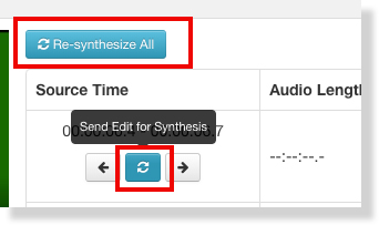 The editing interface is highlighted around a blue refresh icon with a tool tip that reads Send Edit for Synthesis