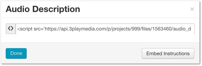 Audio Description Plugin HTML Code