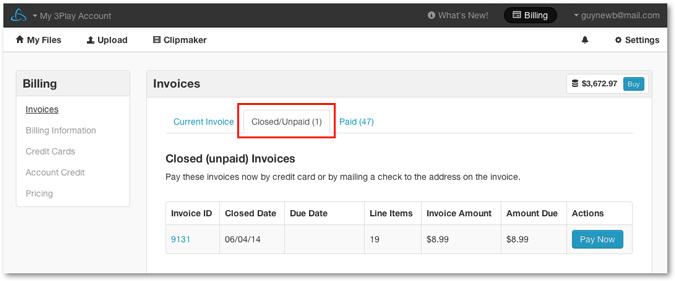 Closed Unpaid invoices tab