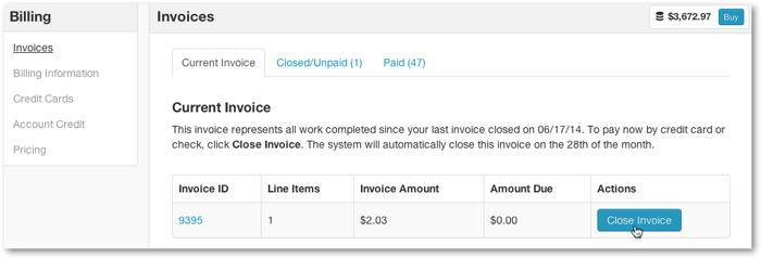 Close Invoice