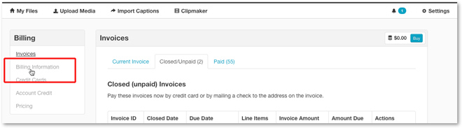 Click Billing Information