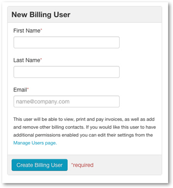 Enter information for billing contact